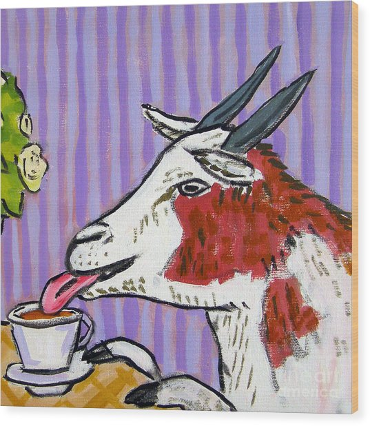 Goat At The Cafe Wood Print by Jay  Schmetz