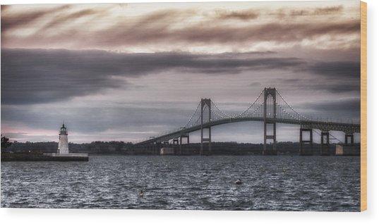 Goat Island Lighthouse And Newport Bridge Wood Print