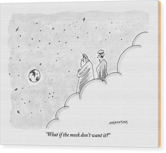 God And An Angel Stand On A Cloud Floating Wood Print