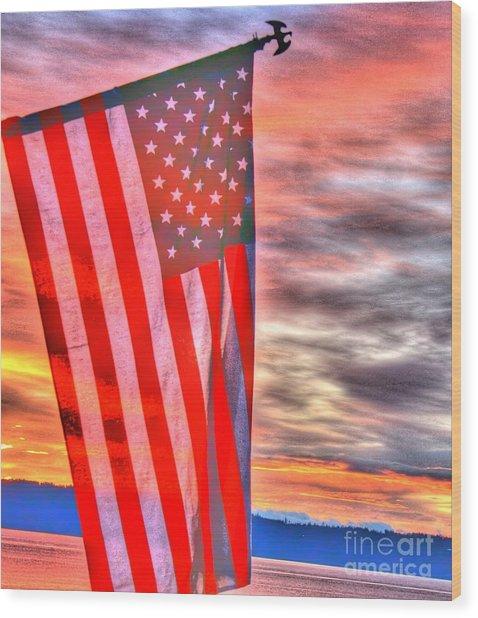 God Bless America Over Puget Sound Wood Print