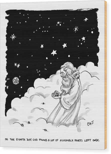 God Stands In A Cloud Formation In Space Wood Print