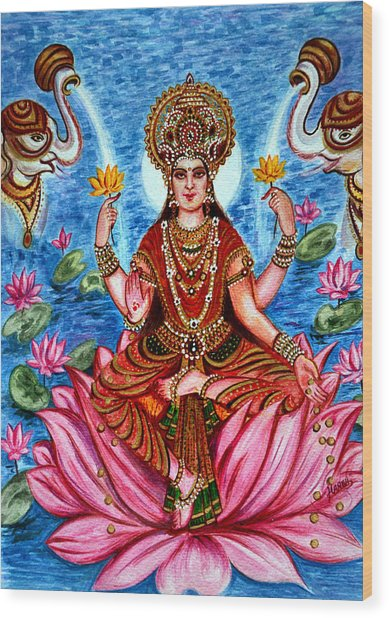 Goddess Lakshmi Wood Print