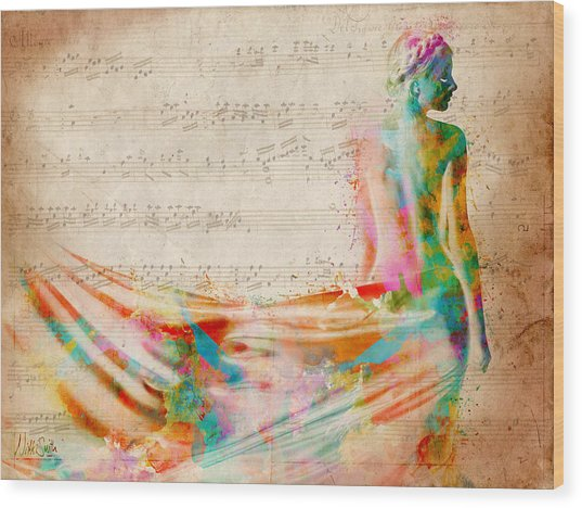 Goddess Of Music Wood Print