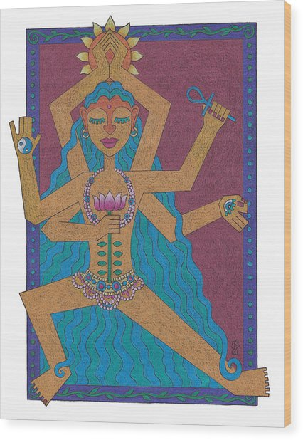 Goddess Of Well-being Wood Print by Sharon Woodward
