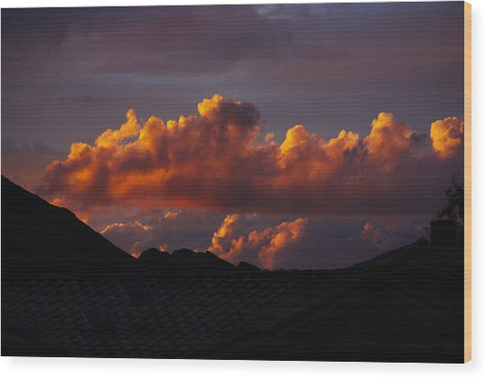 God's Golden Clouds Wood Print