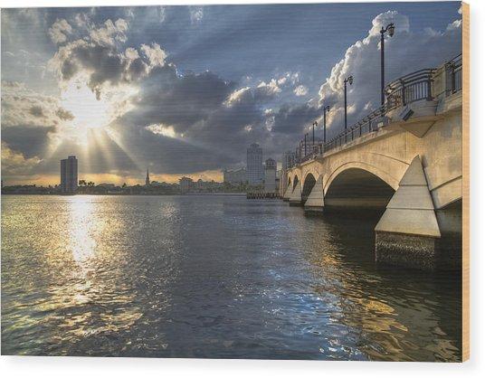 God's Light Over West Palm Beach Wood Print