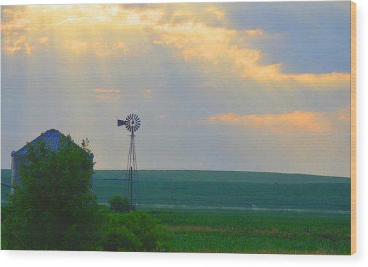 God's Light Over Windmill Wood Print