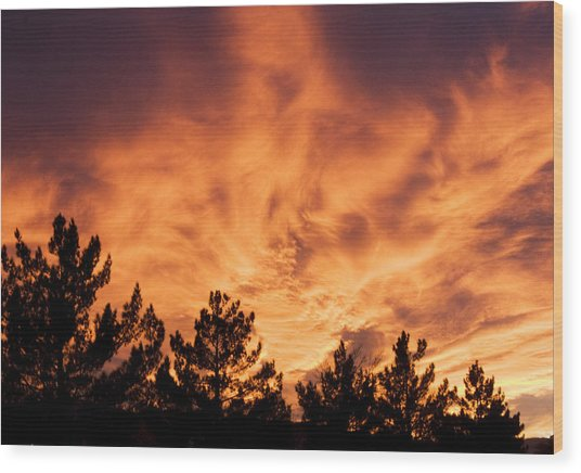God's Skyfire Wood Print