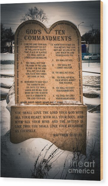 God's Ten Commandments Wood Print