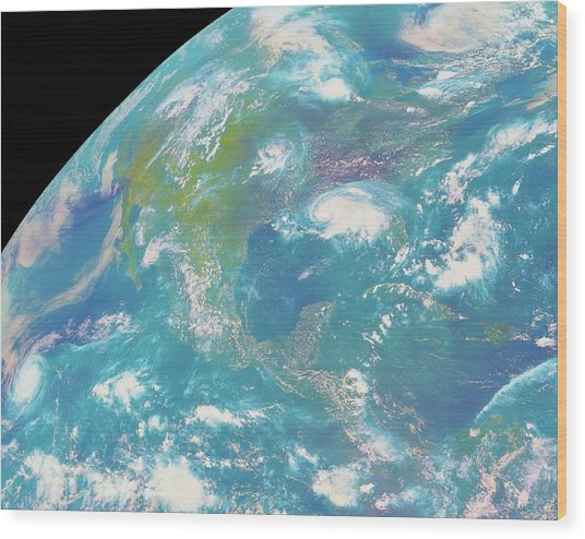 Goes Image Of North & Central America Wood Print by Nasa/science Photo Library