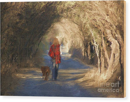 Going For A Walk Wood Print