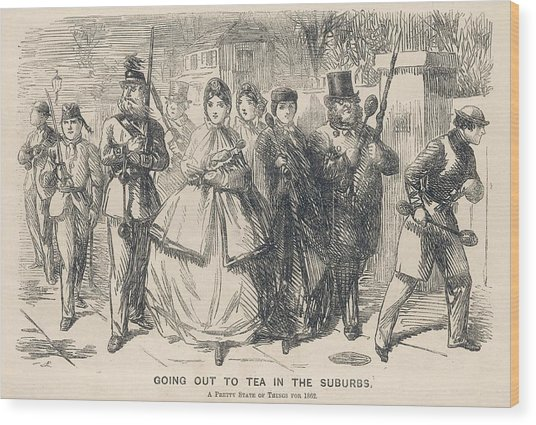 'going Out To Tea In The  Suburbs Wood Print by Mary Evans Picture Library
