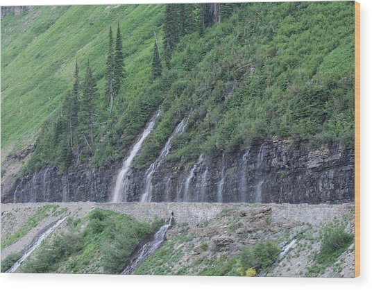 Going To The Sun Road Weeping Wall Wood Print