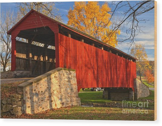Gold Above The Poole Forge Covered Bridge Wood Print