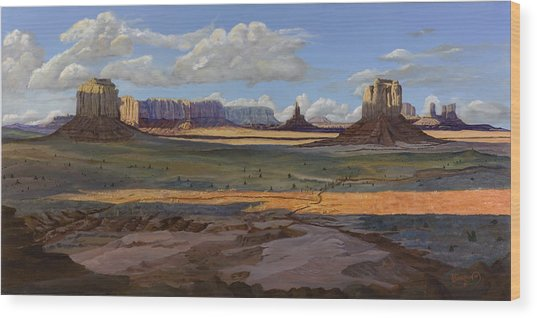 Gold Across The Valley Monument Valley Wood Print