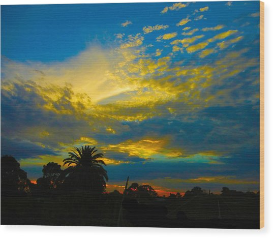 Gold And Blue Sunset Wood Print