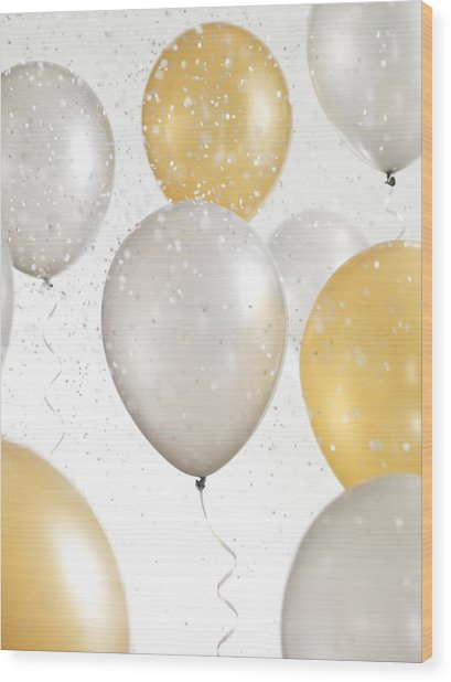 Gold And Silver Balloons With Confetti Wood Print by Lauren Nicole