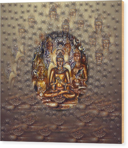 Gold Buddha Wood Print