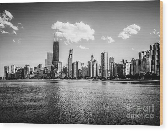 Gold Coast Skyline In Chicago Black And White Picture Wood Print