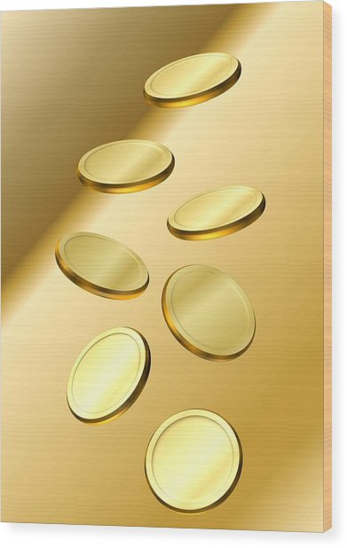 Gold Coins Wood Print