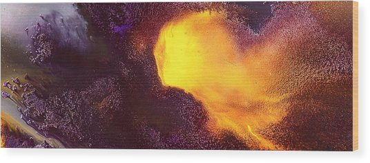 Gold Echo Horizontal Abstract Art By Kredart Wood Print