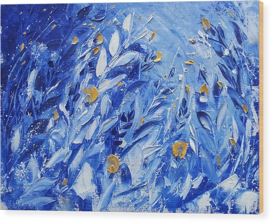 Gold Flowers On Blue Wood Print