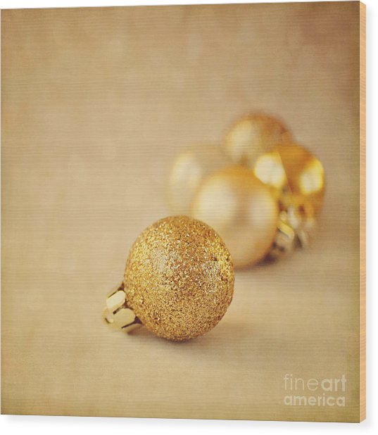 Gold Glittery Christmas Baubles Wood Print