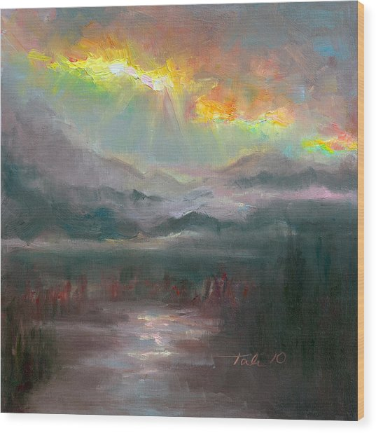 Gold Lining - Chugach Mountain Range En Plein Air Wood Print