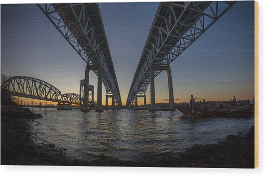 Gold Star Bridge Simple Sunset  Wood Print