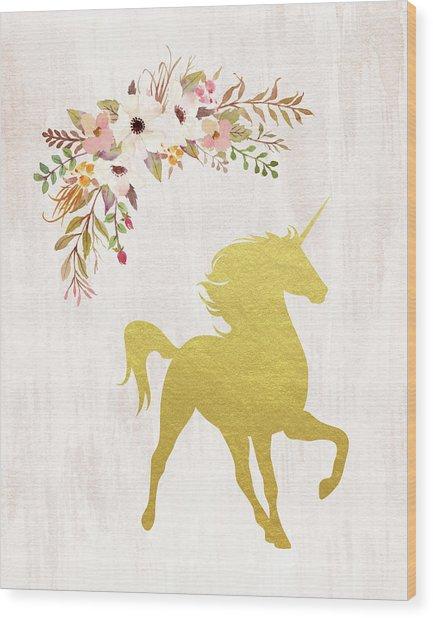 Gold Unicorn Floral Wood Print
