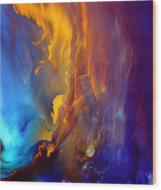 Gold Waterfall - Liquid Gold Abstract Art By Kredart Wood Print