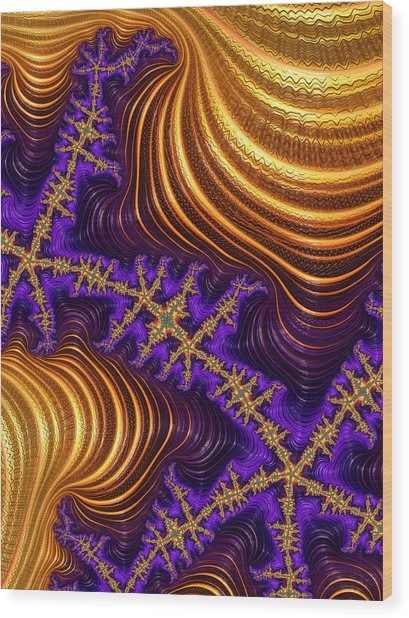 Golden And Purple Fractal River And Mountain Landscape Wood Print