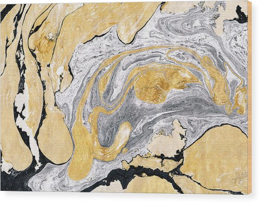 Golden And Silver Marble Background Wood Print