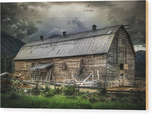 Golden Barn Wood Print