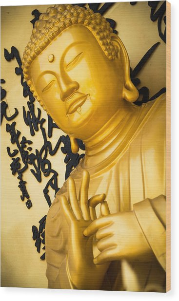 Golden Buddha Statue Wood Print