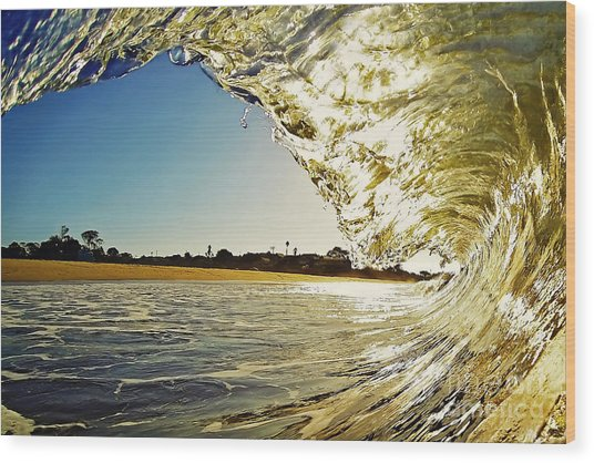 Golden Curtain Wood Print