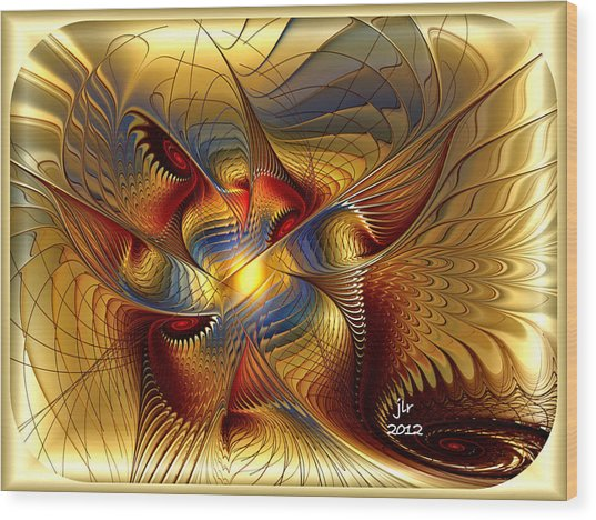 Golden Dancing Dragon Wood Print by Janet Russell