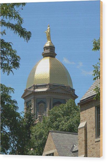Golden Dome Notre Dame Wood Print