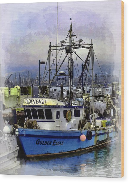 Golden Eagle Fishing Boat Wood Print