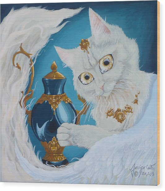 Golden Eyed Angel Bast Cat  Wood Print by Jennifer  Anne Esposito