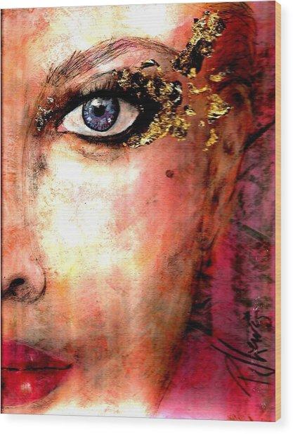 Golden Eyes Wood Print