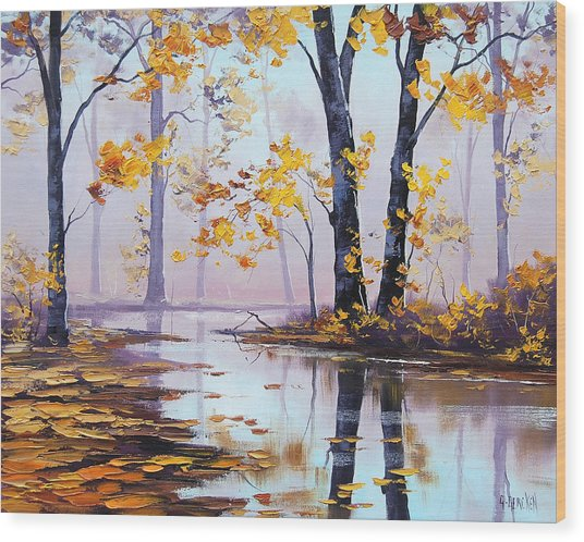 Golden Fall Wood Print