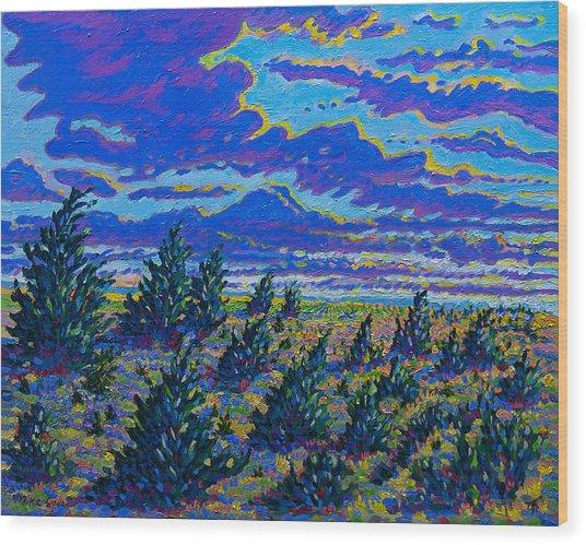 Golden Field And Cedars Wood Print