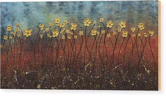 Golden Flowers Wood Print