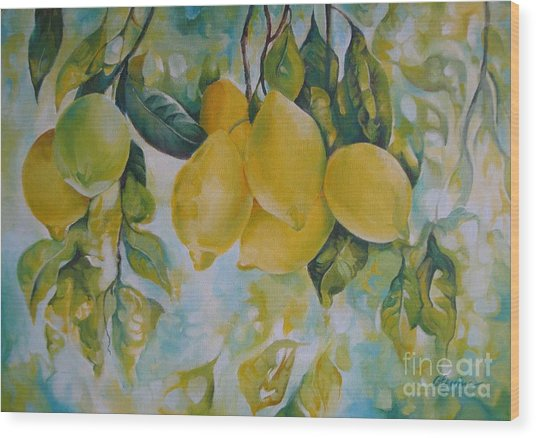 Golden Fruit Wood Print