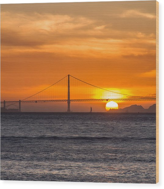 Golden Gate - Last Light Of Day Wood Print