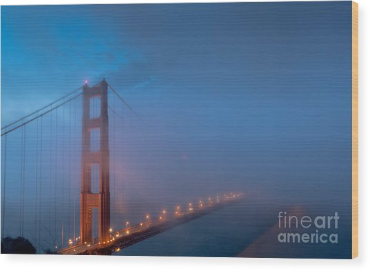 Golden Gate At Blue Hour Wood Print