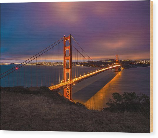 Golden Gate At Twilight Wood Print