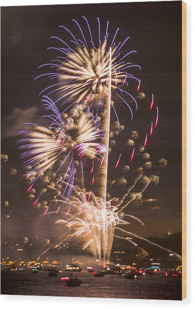 Golden Gate Bridge 75th Anniversary Fireworks 10 Wood Print