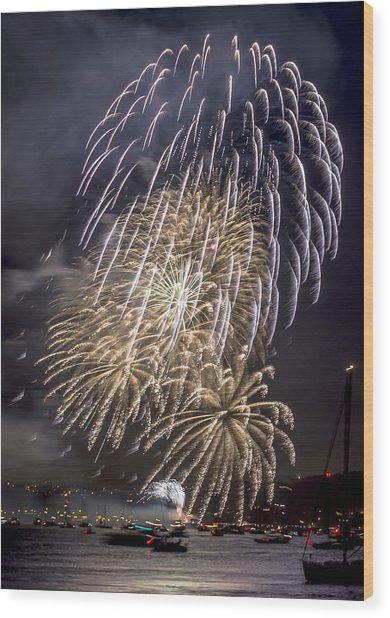 Golden Gate Bridge 75th Anniversary Fireworks 15 Wood Print